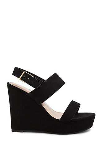 Forever 21 Faux Suede Wedges (Wide)  Black - GOOFASH