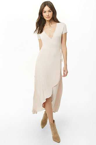 Forever 21 Faux Wrap High-Low Dress Blush - GOOFASH