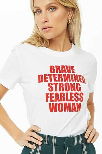 Forever 21 Fearless Woman Graphic Tee  White/red - GOOFASH