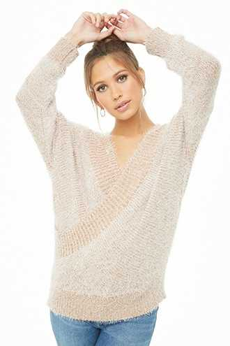 Forever 21 Feathered Knit Sweater  Camel - GOOFASH