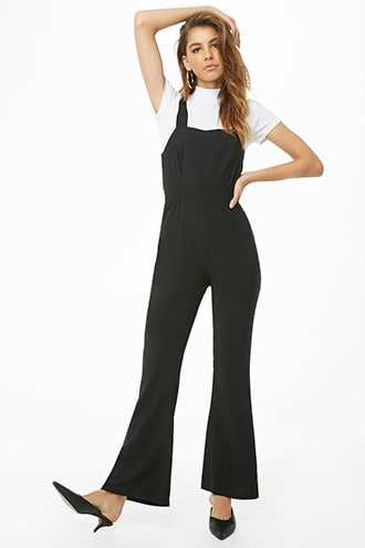 Forever 21 Flare Overall Jumpsuit  Black - GOOFASH