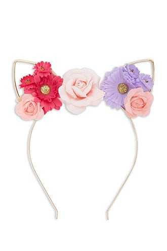 Forever 21 Floral Cat Ear Headband Pink/multi - GOOFASH