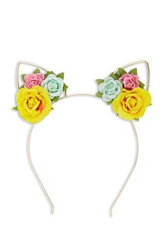 Forever 21 Floral Cat Ear Headband Pink/yellow - GOOFASH