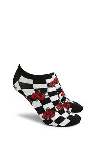 Forever 21 Floral Checkered Print Ankle Socks Black/multi - GOOFASH