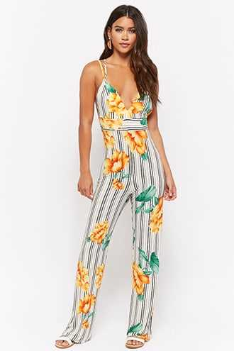 Forever 21 Floral Striped Cami Jumpsuit  Ivory/multi - GOOFASH