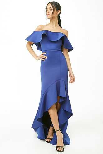 Forever 21 Flounce High-Low Scuba Knit Dress  Royal - GOOFASH