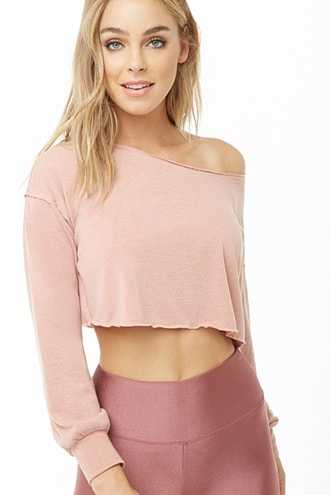 Forever 21 French Terry Crop Top  Pink - GOOFASH