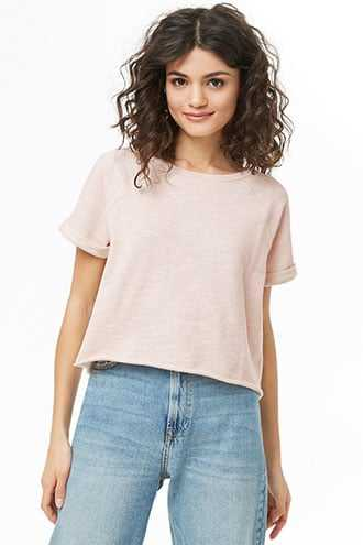 Forever 21 French Terry Cropped Sweatshirt  Pink - GOOFASH