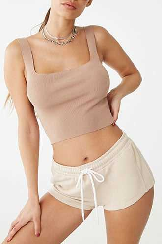 Forever 21 French Terry Drawstring Shorts  Taupe - GOOFASH