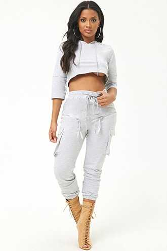 Forever 21 French Terry Hoodie & Jogger Set  Grey - GOOFASH