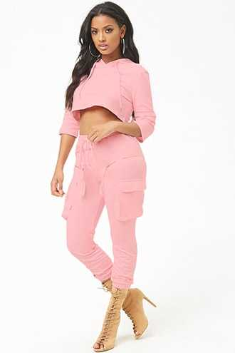 Forever 21 French Terry Hoodie & Jogger Set  Pink - GOOFASH