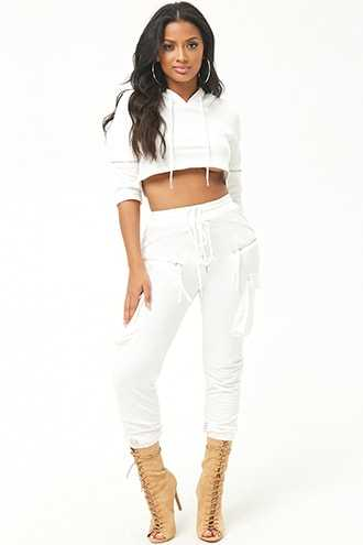 Forever 21 French Terry Hoodie & Jogger Set  White - GOOFASH