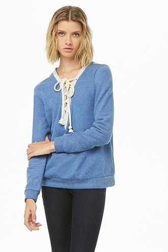 Forever 21 French Terry Lace-Up Pullover  Blue - GOOFASH