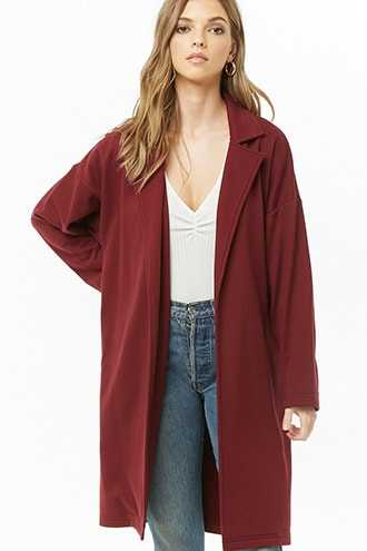 Forever 21 French Terry Trench Coat  Burgundy - GOOFASH