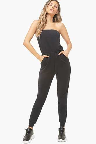 Forever 21 French Terry Tube Jogger Jumpsuit  Black - GOOFASH