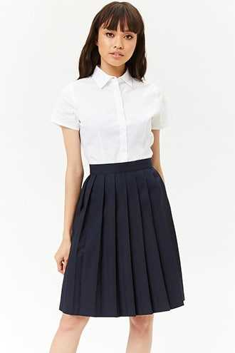 Forever 21 French Toast Pleated Skirt  Navy - GOOFASH