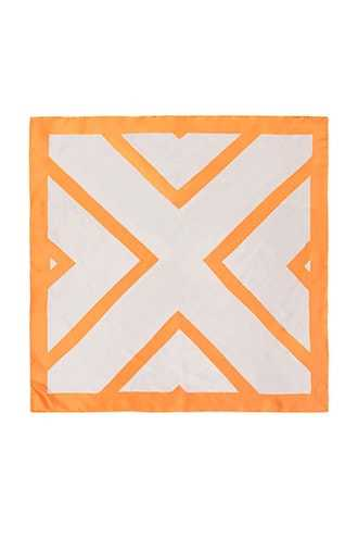 Forever 21 Geo Square Scarf  Orange/white - GOOFASH