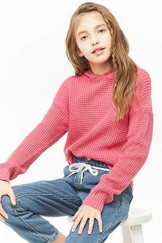 Forever 21 Girls Hooded Waffle-Knit Sweater (Kids)  Hot Pink - GOOFASH