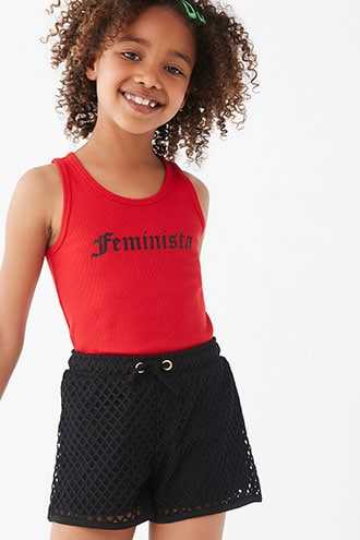 Forever 21 Girls Mesh Shorts (Kids) Black - GOOFASH