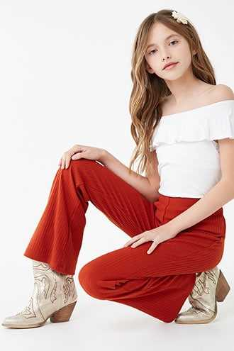 Forever 21 Girls Ribbed Flare Pants (Kids) Rust - GOOFASH