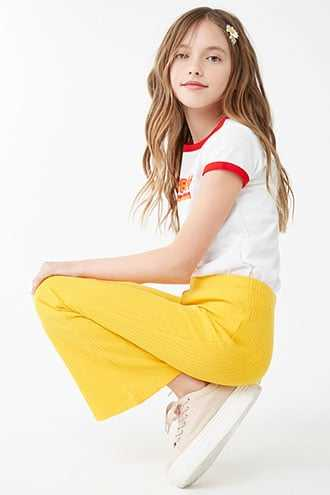 Forever 21 Girls Ribbed Flare Pants (Kids)  Yellow - GOOFASH