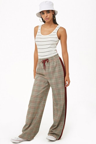 Forever 21 Glen Plaid Drawstring Pants  Black/burgundy - GOOFASH