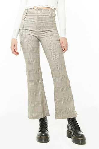Forever 21 Glen Plaid Wallet Chain Pants  Brown/ivory - GOOFASH