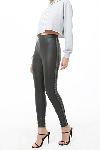 Forever 21 Glitter Striped-Trim Faux Leather Pants  Black - GOOFASH