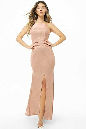 Forever 21 Glittered Bodycon Gown  Blush/silver - GOOFASH