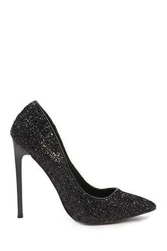 Forever 21 Glittery Pointed Toe Pumps  Black - GOOFASH