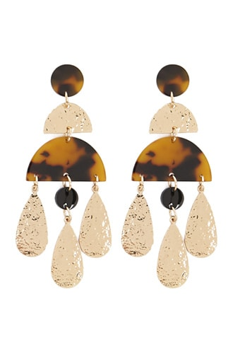 Forever 21 Hammered Geo Drop Earrings  Gold/brown - GOOFASH