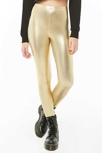 Forever 21 High-Rise Faux Leather Leggings  Gold - GOOFASH