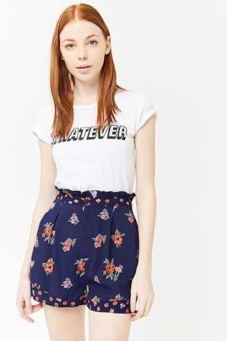 Forever 21 High-Rise Floral Print Shorts  Navy/red - GOOFASH