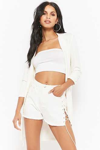 Forever 21 High-Waisted Lace-Up Denim Shorts  White - GOOFASH