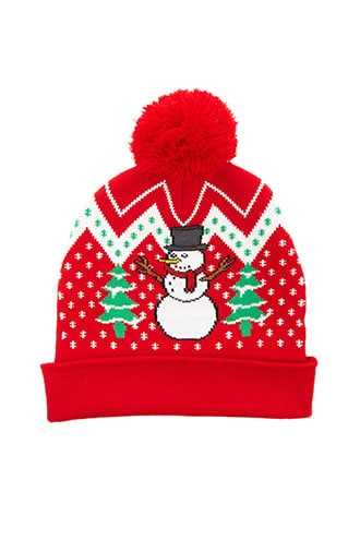 Forever 21 Holiday Print Beanie  Red/multi - GOOFASH