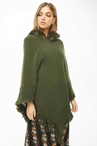 Forever 21 Hooded Faux Fur-Trim Poncho  Olive - GOOFASH