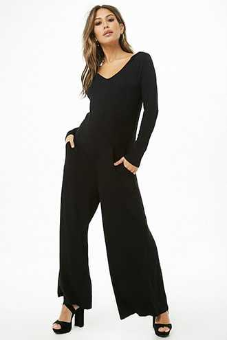 Forever 21 Hooded Palazzo Jumpsuit  Black - GOOFASH
