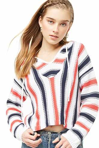 Forever 21 Hooded Striped Sweater  Red/multi - GOOFASH