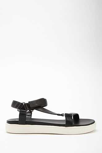 Forever 21 Jane and the Shoe Faux Leather Platform Sandals  Black/white - GOOFASH