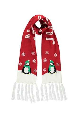 Forever 21 Just Chillin Penguin Print Scarf  Red/multi - GOOFASH
