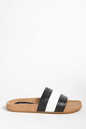 Forever 21 L4L By Lust For Life Faux Leather Colorblock Cork Slides  Black/white - GOOFASH