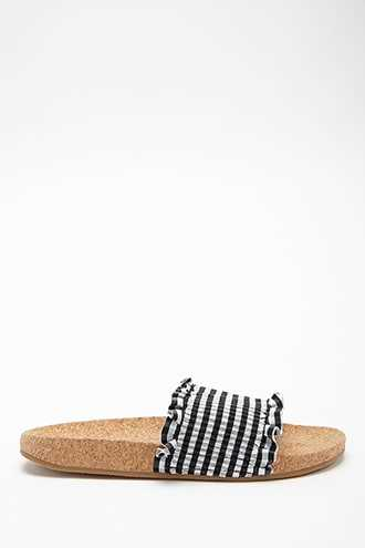 Forever 21 L4L By Lust For Life Gingham Slides  Black - GOOFASH