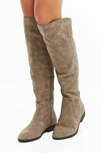 Forever 21 L4L by Lust for Life Elasticized Lace-Up Boots  Taupe - GOOFASH