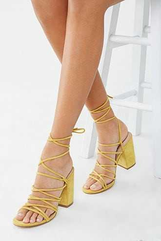 Forever 21 Lace-Up Block Heels  Yellow - GOOFASH