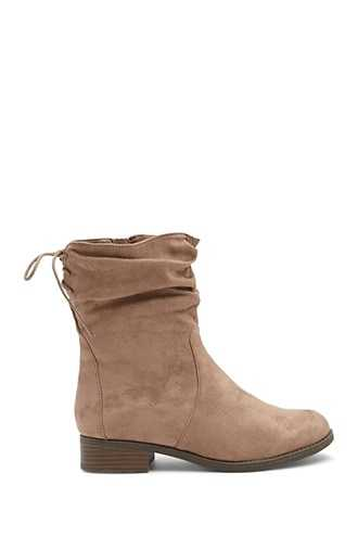 Forever 21 Lace-Up Faux Suede Booties  Taupe - GOOFASH