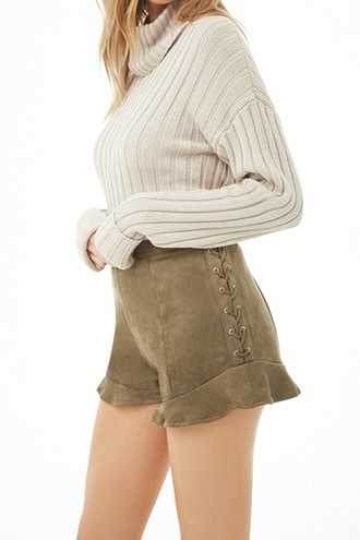 Forever 21 Lace-Up Faux Suede Shorts  Olive - GOOFASH