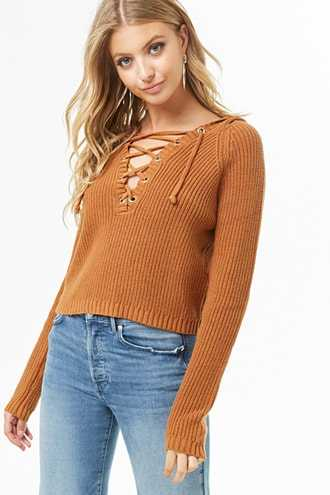 Forever 21 Lace-Up Hooded Sweater  Camel - GOOFASH