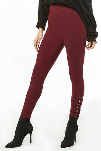 Forever 21 Lace-Up Knit Leggings  Burgundy - GOOFASH