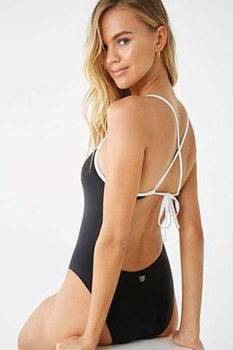 Forever 21 Lace-Up One-Piece Swimsuit  Black/white - GOOFASH