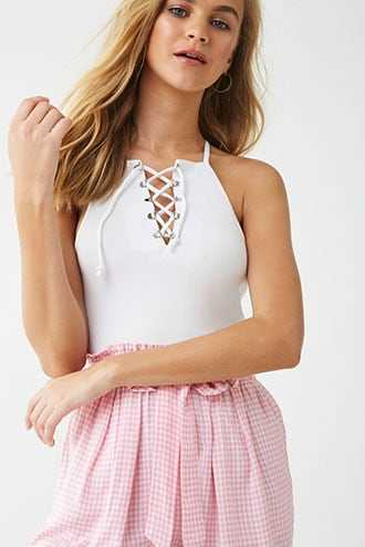 Forever 21 Lace-Up Racerback Cropped Cami  White - GOOFASH